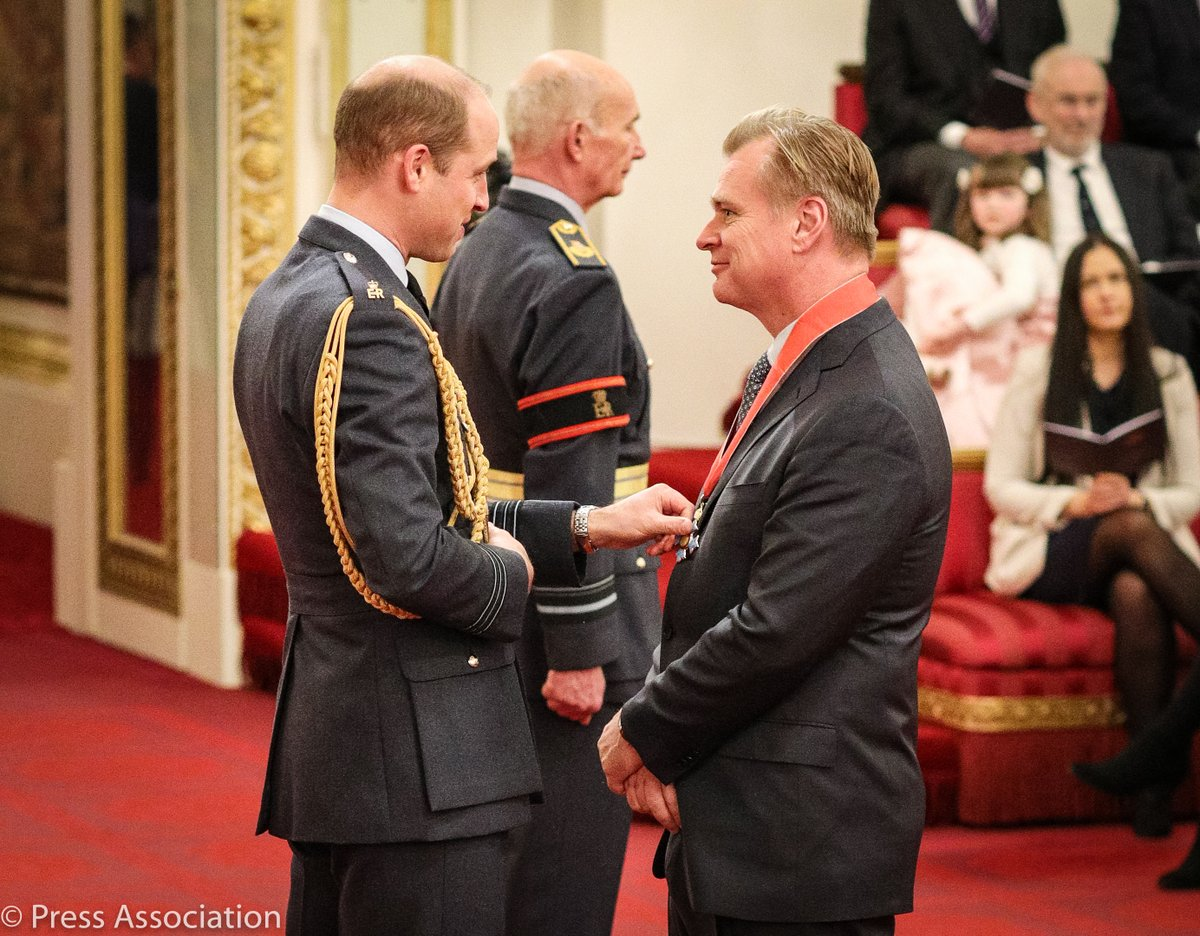 Congratulations to Christopher Nolan CBE 🎞️ the film director, screenwriter and producer was honoured today by The Duke of Cambridge at Buckingham Palace for services to film.