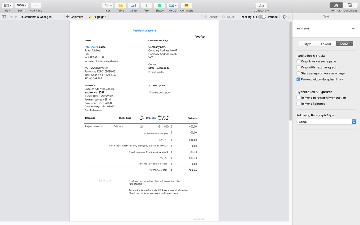 Film Storyboards On Twitter Freelancing Get This Free Invoice Template Euro For Apple Pages From Gumroad Https T Co Gjxmbfdg58