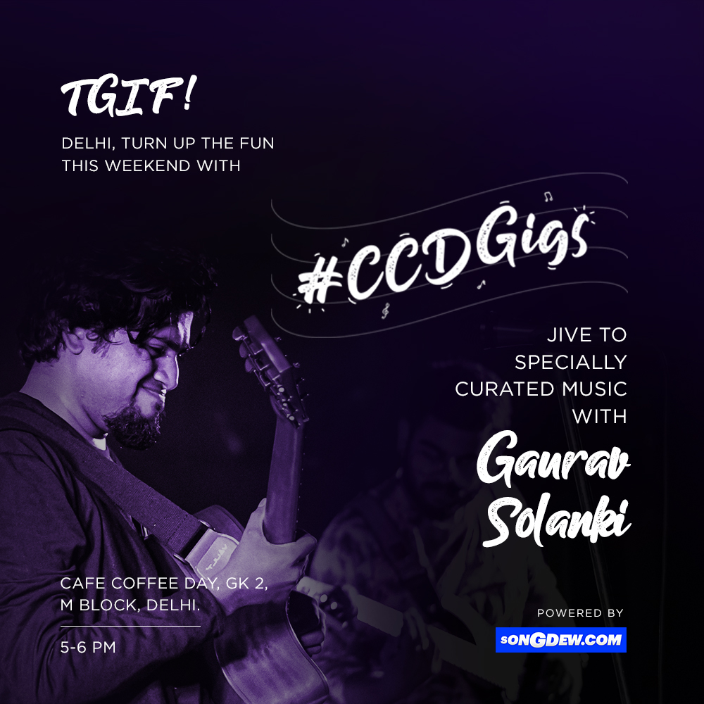 #Delhi!  This Friday, the only place to be is at @CafeCoffeeday!  Walk-in for an intimate evening of soulful music with @GauravSolanki from the band 'Khanabadosh'!    #CCDGigs #CCDMusic #Delhigigs pic.twitter.com/iwwlyyxaGG