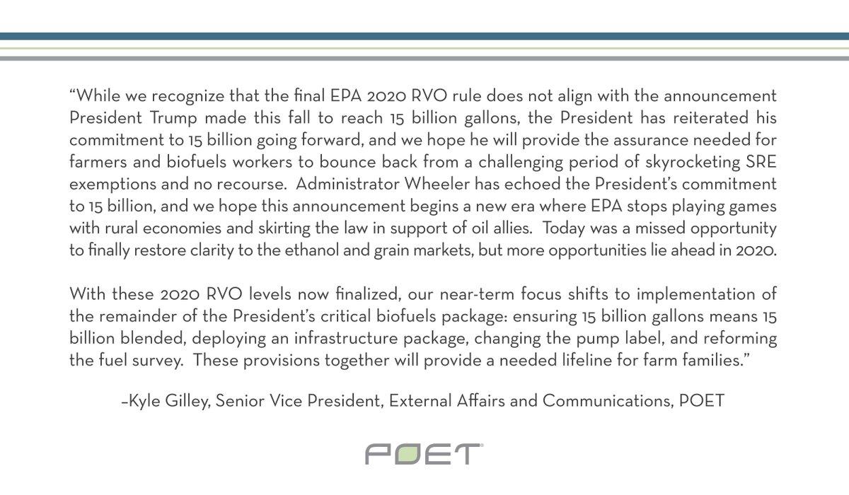 Read POET's statement on EPA's 2020 RVO rule below: