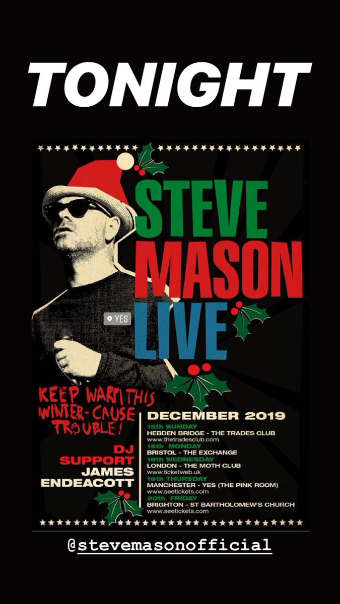 Tonight! Come and get Xmassy with @SteveMasonKBT at @yes_mcr