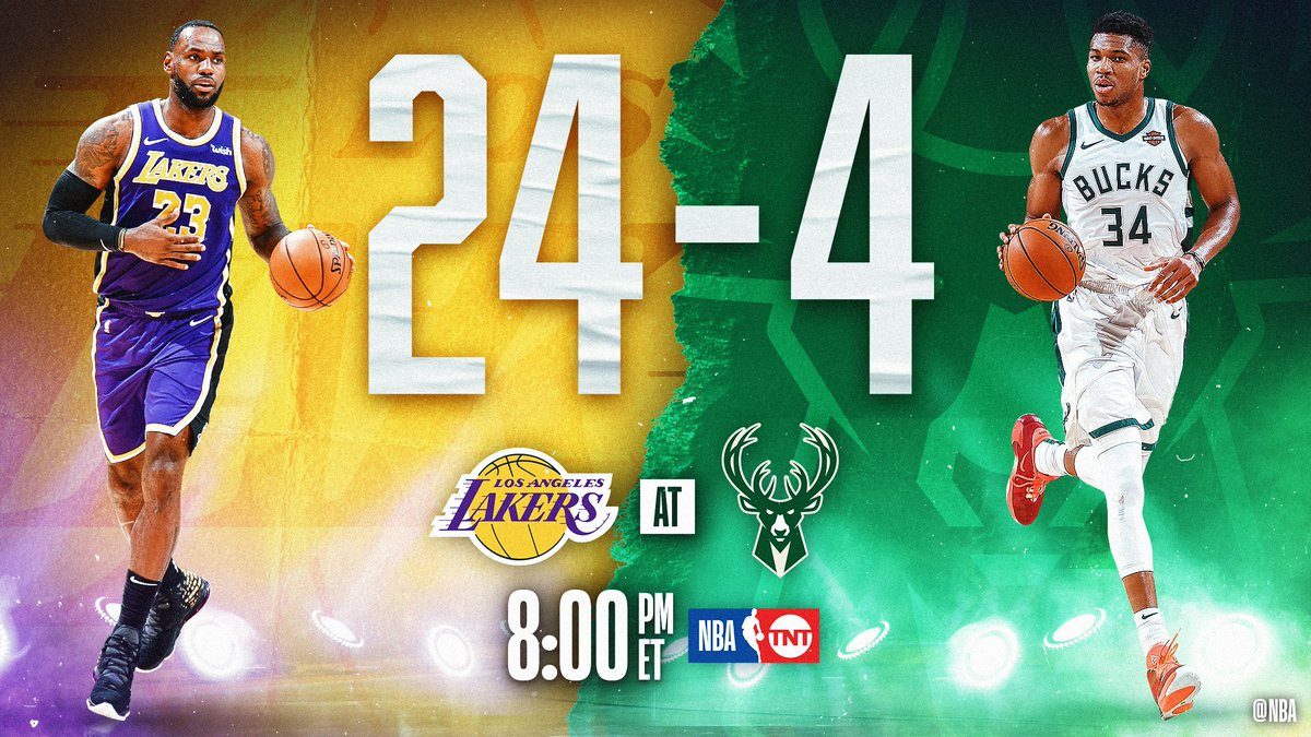 #1 in the West  🆚 #1 in the East  @Lakers / @Bucks TONIGHT at 8pm/et on TNT is the first game in @NBAHistory in which both teams have less than five losses at this point in the season!