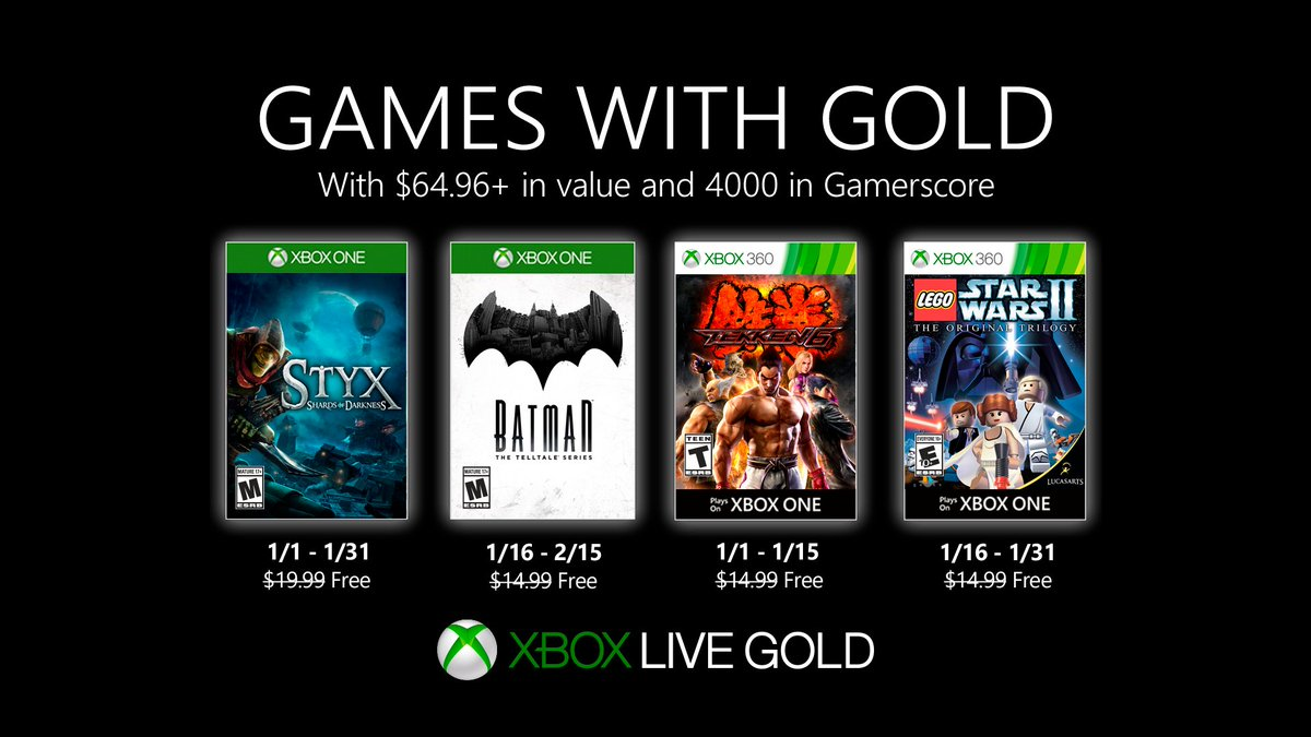 Xbox Live Games with Gold January 2020