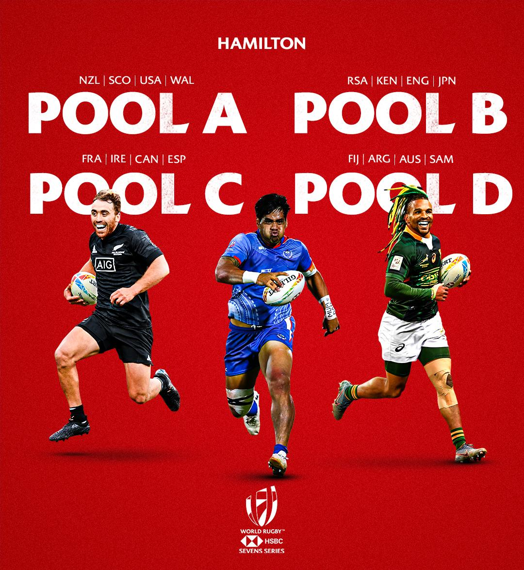 The pools and schedule have been announced for the HSBC @NZ_Sevens, kicking off on 25 January in Hamilton   Men's fixtures: https://t.co/2zv2LWqpVr  Women's fixtures: https://t.co/lRrkuEsWOp  #NZSevens #HSBC7s https://t.co/z3xFe87jQJ