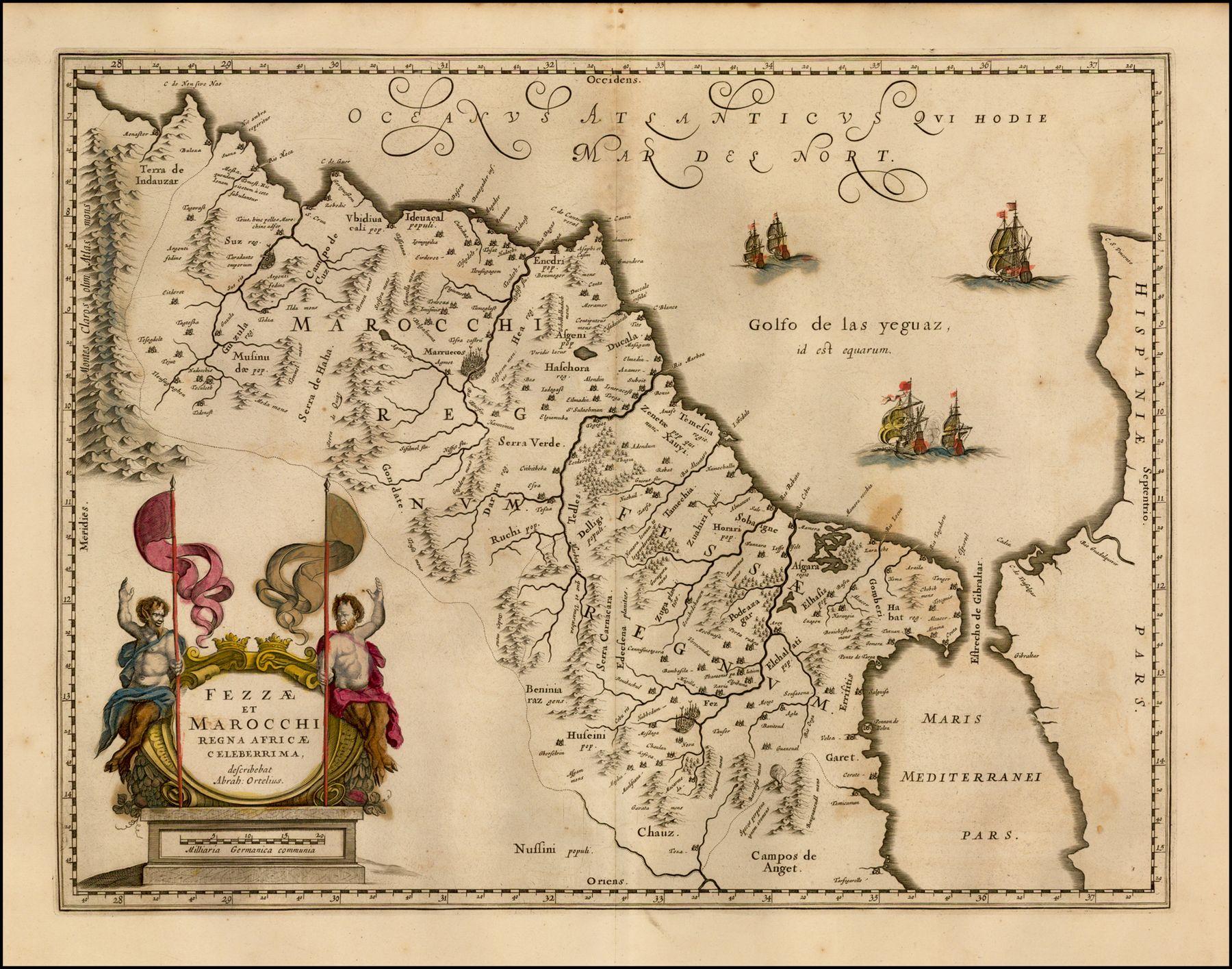 «Fezzae et Marocchi regna Africae celebérrima» por Jan Jansson basado en Abraham Ortelius. Amsterdam, 1635
