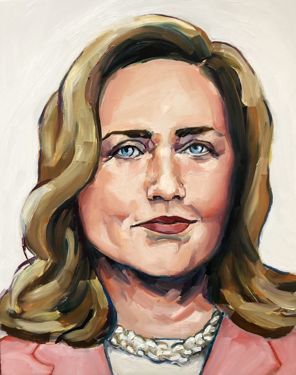 Yesterday, On #ImpeachmentDay I painted this painting of #HillaryClinton from her speech in Beijing in 1995. #WomensRightsAreHumanRights #RightfulPOTUS