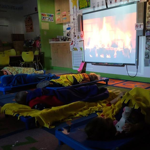 These AECC preschoolers sure do look cozy taking naptime by the fire. 💜😴💜 #afftonlearns #afftonstrong