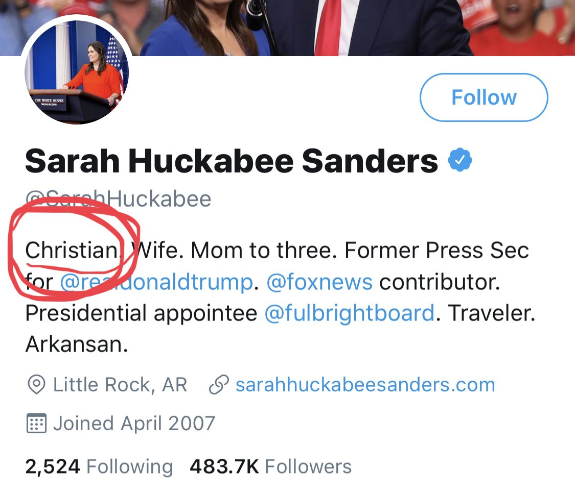 "@SarahHuckabee ""Christian"" lmao https://t.co/3Z7a4slXDg"