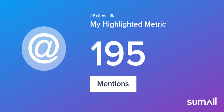 My week on Twitter 🎉: 195 Mentions. See yours with sumall.com/performancetwe…