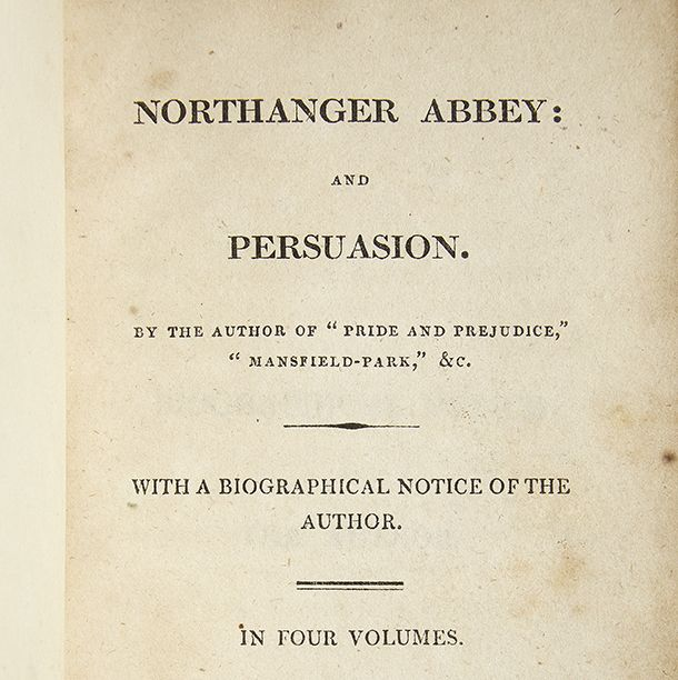#OnThisDay in 1817, Northanger Abbey and Persuasion were published posthumously, just a few months after Jane Austens death. This is the title page from a first edition in our collection. #AustenTreasures