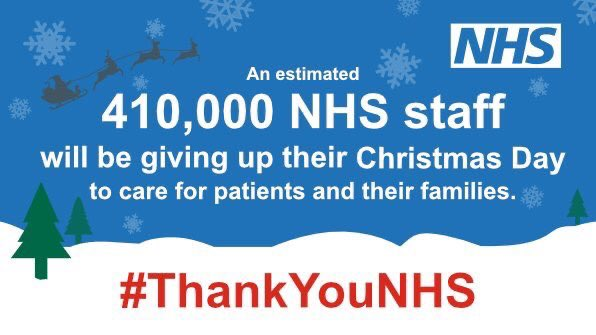 An estimated 410,000 NHS staff will be giving up their Christmas Day to care for patients and their families.   Share your thank you message to NHS staff using the hashtags #ThankYouNHS and #MerryXmasNHS 🎁🎄🎉🦌⛄️🎅 https://t.co/VR5iitsMnu
