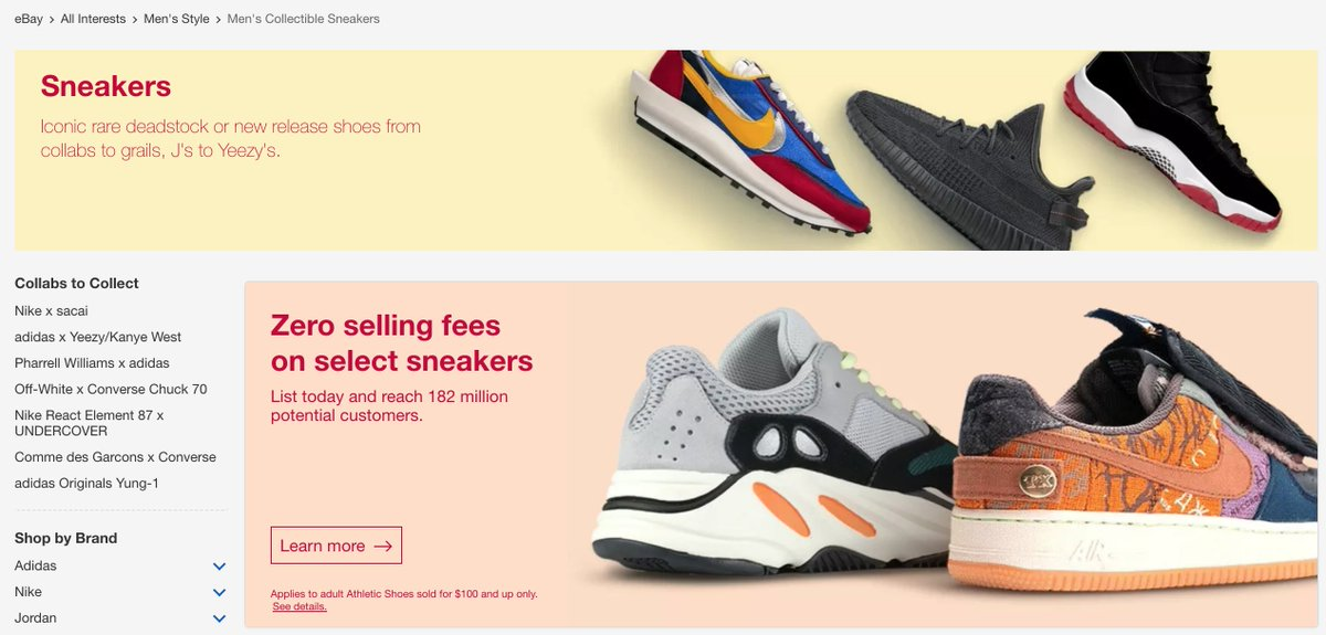 Jane Hali Associates On Twitter The Sneaker Resale Market Is Becoming Competitive Ebay Has Announced They Have Eliminated Selling Fees For Customers In North America On Any Sneakers Sold At 100