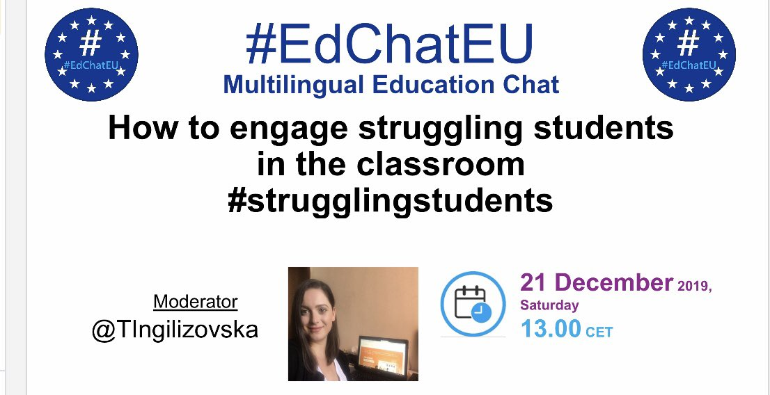 """Join me tomorrow on another chat """"How to engage #strugglingstudents in the classroom"""" #EdChatEU"""