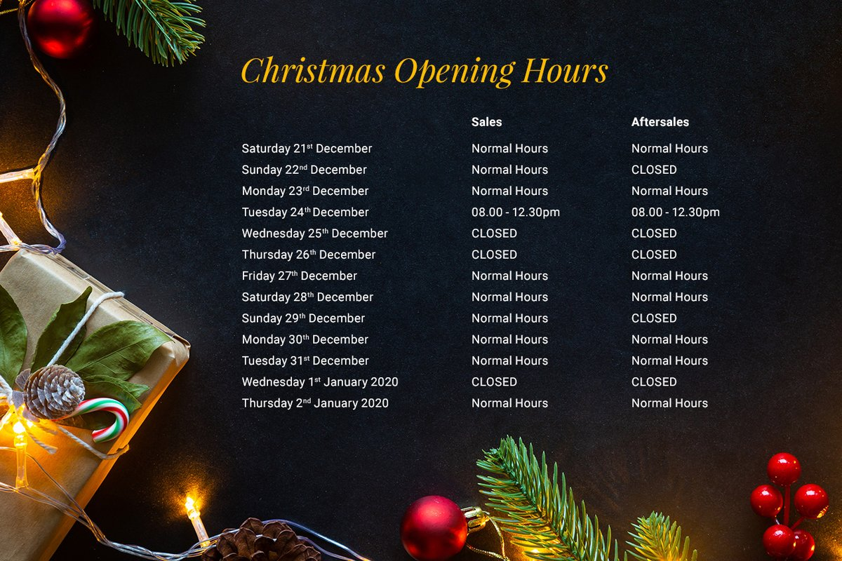 Please find below our opening hours during the holidays!