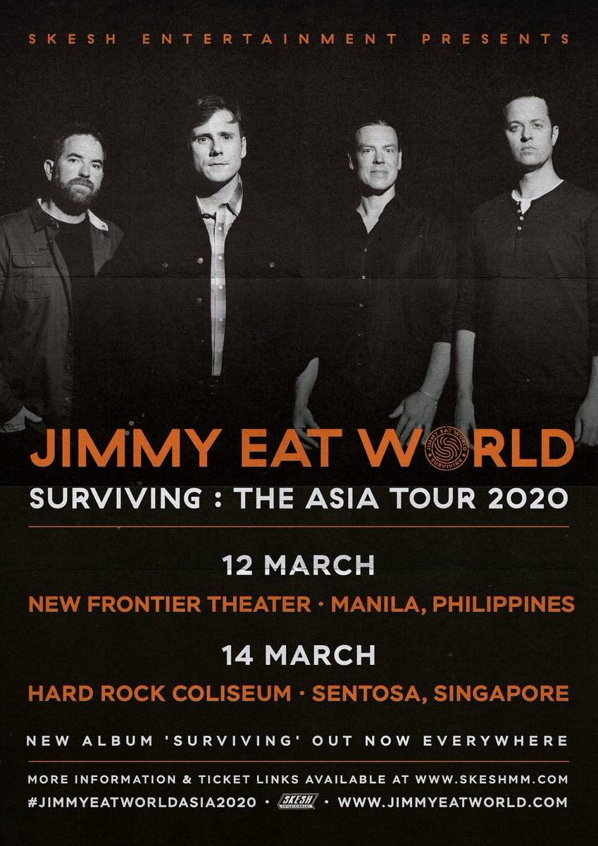 We can't be more excited to finally announce the #JimmyEatWorldAsia2020 tour! Tickets on sale December 30th at 10am! Head over to our website for more information! #JimmyEatWorld #SkeshEntertainment https://t.co/qWhIEPDLFW