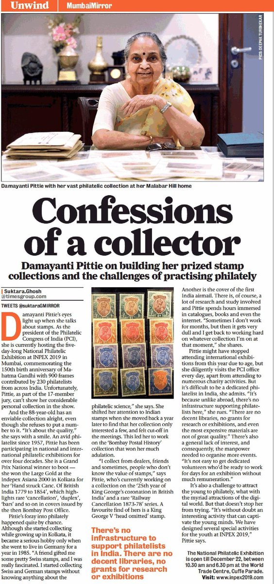 Damayanti pittie with her vast philatelic collection at her Malabar hill home#Stamp #philately #inpex2019 http://www.inpex2019.com