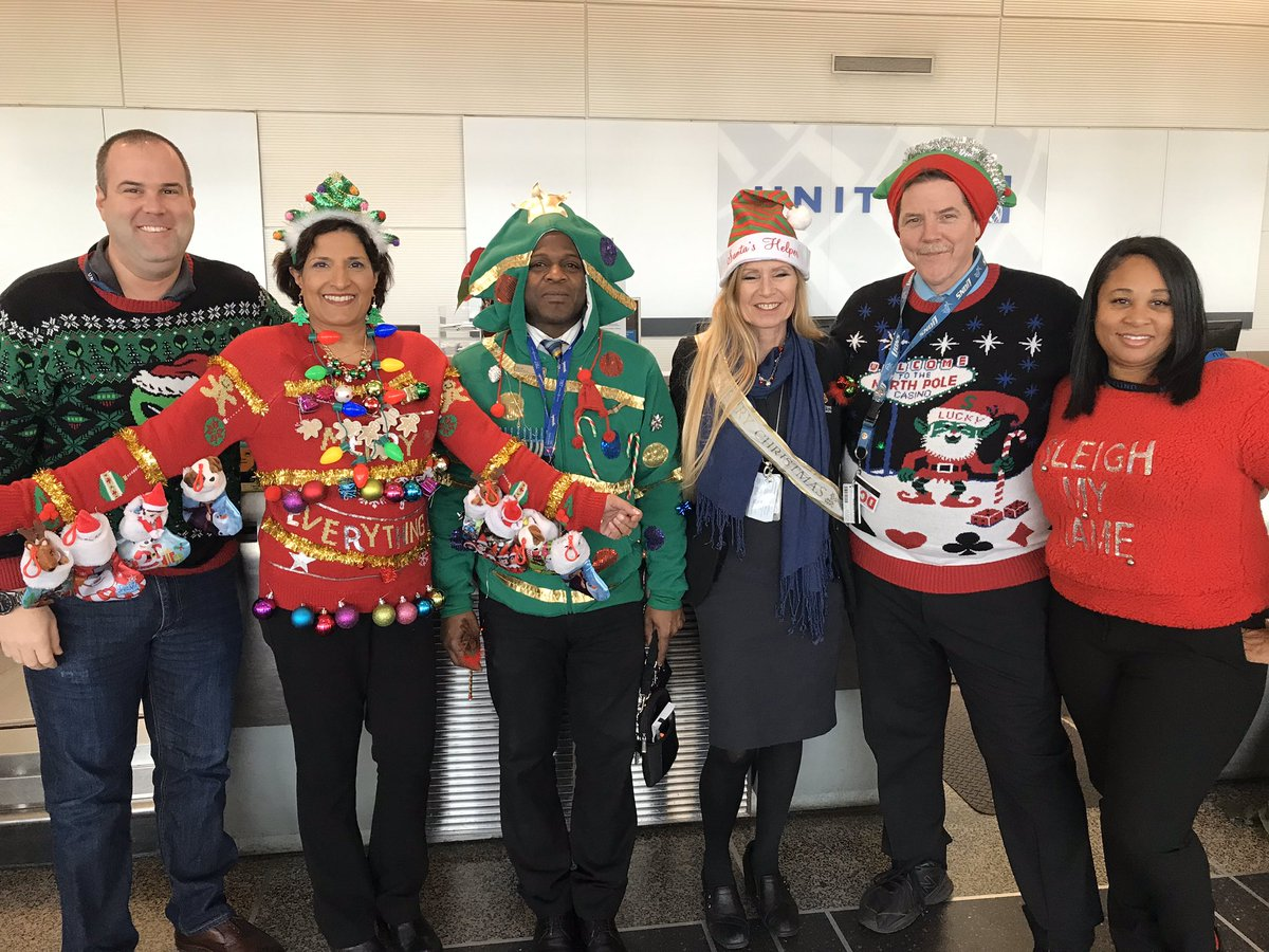 Team DCA having a little holiday fun by having an ugly sweater contest. I think we know who will win🎄 @LouFarinaccio @Auggiie69 #winningthelines