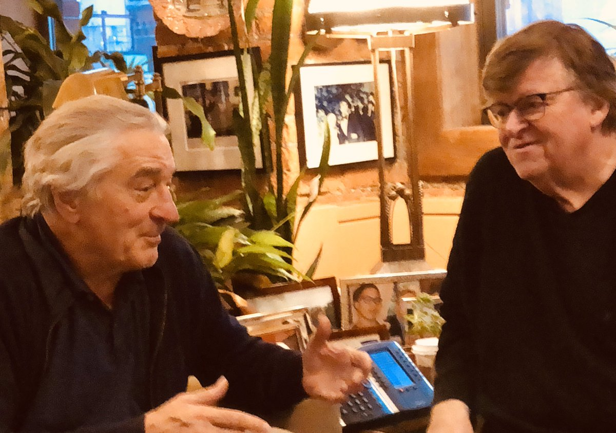 """Robert DeNiro has never done a podcast. Today he sits down w/me for his first podcast ever - and in our 68 minutes together, DeNiro lets Trump (& Murdoch & the Republicans) have it in a no-holds-barred conversation on """"RUMBLE w/ Michael Moore"""" Listen here: https://t.co/j2coRHpx3R https://t.co/28BTDEIaaz"""