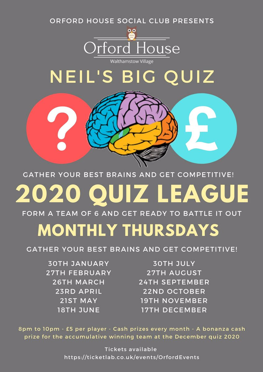 Book your teams in for our 2020 Quiz League. It's gonna get ugly! ticketlab.co.uk/events/OrfordE… @NeilsBigQuiz