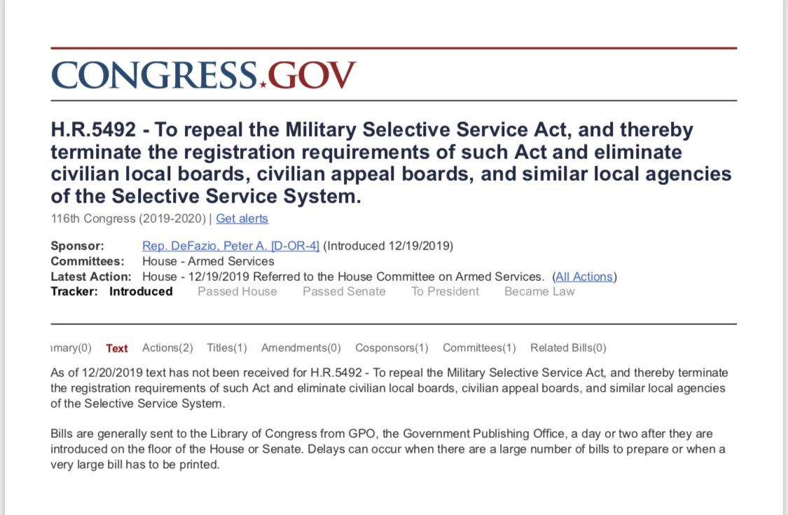 Jim Fussell On Twitter Enddraftregistration On 12 19 Reppeterdefazio D Or Rodneydavis R Il Introduced Hres5492 A Bill To Repeal The Military Selective Service Act Terminate The Registration Requirements Of Such Act
