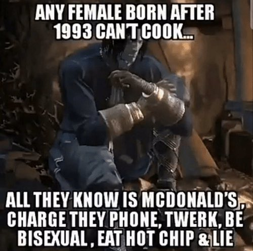 Teratogen On Twitter Any Female Born After 1993 Can T Cook All They Know Is Mcdonald S Charge They Phone Twerk Be Bisexual Eat Hot Chip Lie Https T Co 0vkuwyvkx4 Eat hot chip and lie. twitter