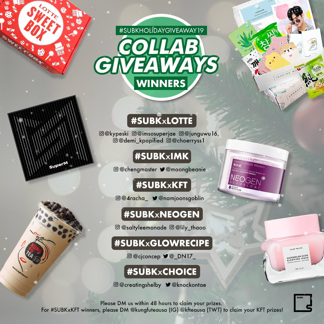 Happy holidays, SubK Squad 🎁 Congratulations 🎉 to the winners of our collaboration giveaways 🎄 Please DM us within 48 hours to claim your prize 💌   📣 Thank you to everyone who participated in #SUBKHOLIDAYGIVEAWAY19 ❤️ https://t.co/5t6Vp3nxTe
