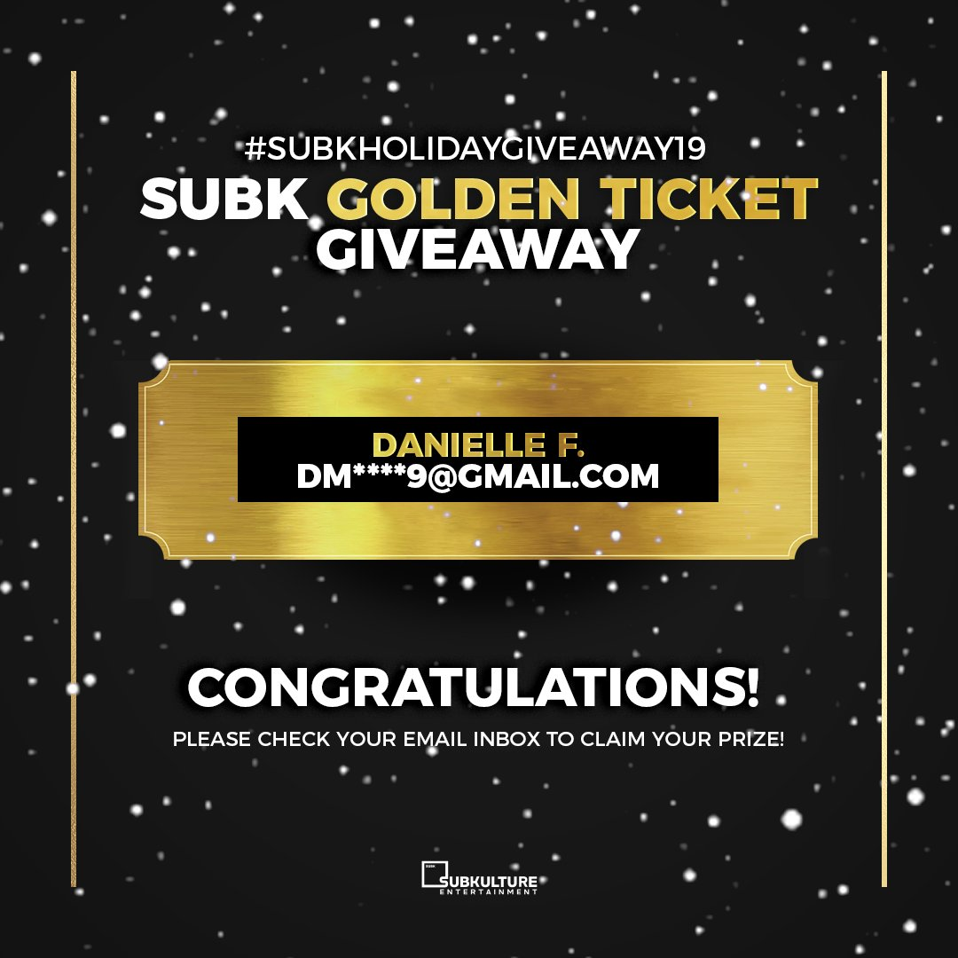 Congratulations 🎉 to the winner of our SubK Golden Ticket giveaway, Danielle F. ✨ Look out for an email from our team 📧 We're so excited to have you as our next #SubKGoldenTicket winner! Thank you to everyone who participated 💛 #SUBKHOLIDAYGIVEAWAY19 https://t.co/nIzhSTKoK4