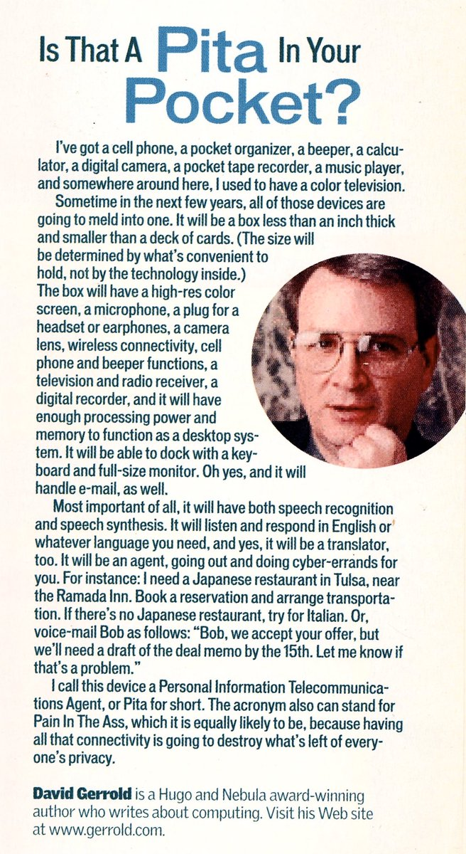 Truly incredible predictions by @David_Gerrold. From 'Smart Reseller' magazine, December 20, 1999.