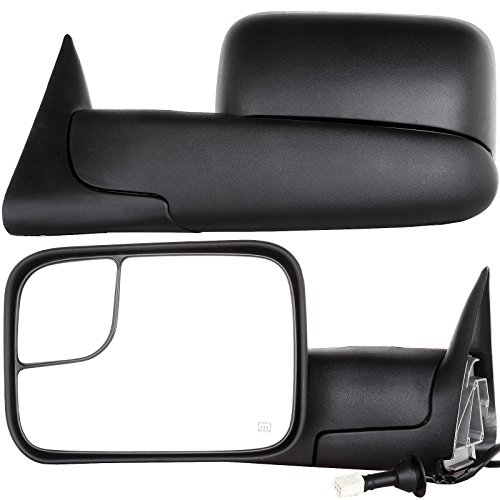 for 1998-2001 Ram 1500 YITAMOTOR Towing Mirrors Compatible for Dodge Ram Power Heated Manual Flip Up Tow Mirrors Pair Set Support Brackets Included 1998-2002 Ram 2500 3500