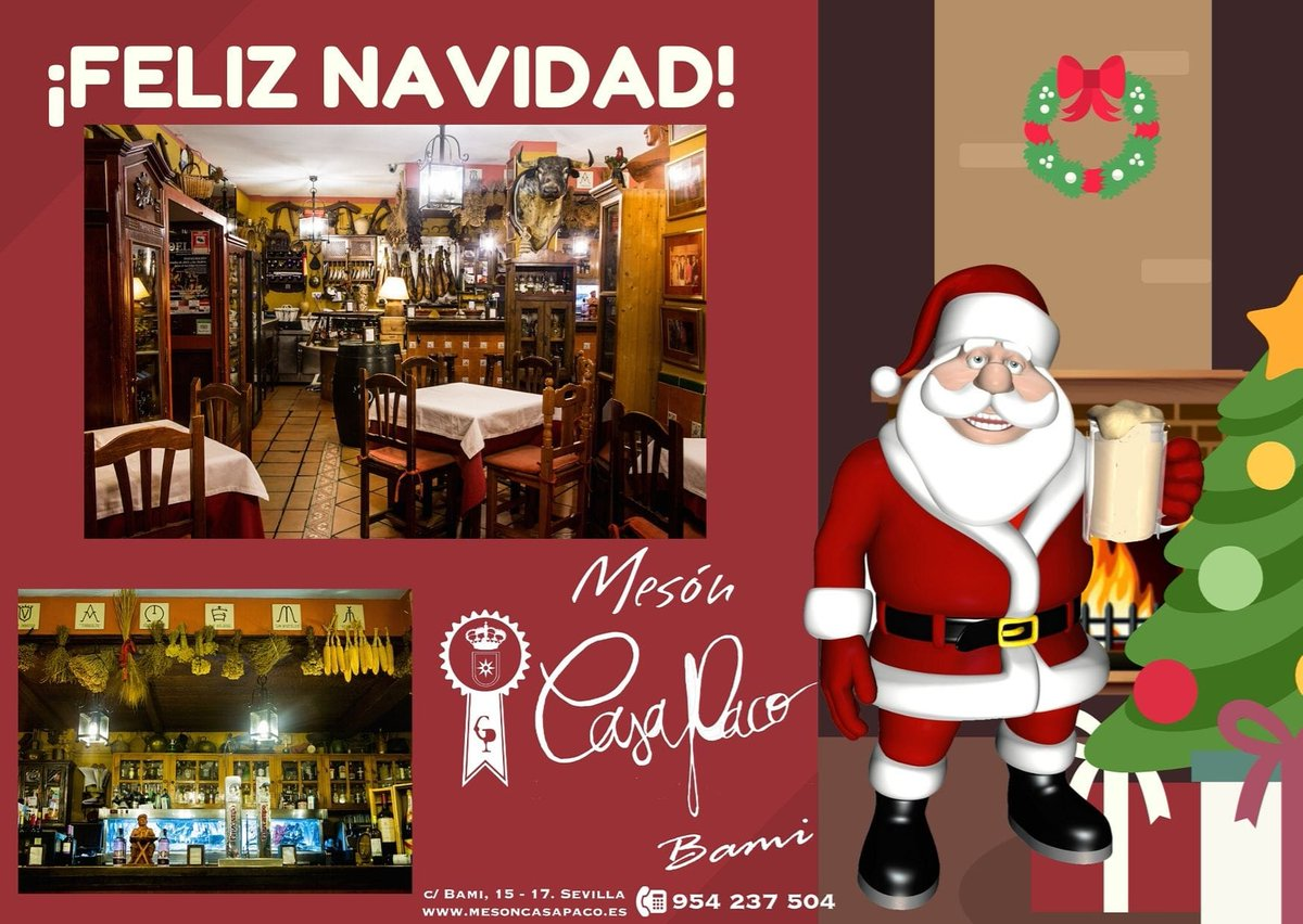 Desde Mesón Casa Paco os deseamos a todos|as una Felices Fiestas  * * #FelizNavidad #Navidad #FelicesFiestas #MesonCasaPaco #CalleBami15 #Sevilla #Andalucia #Gastronomia #Tradicion #Innovacion #Restaurante #detapasporsevilla #Gastro #GastroSevilla #Tapaspic.twitter.com/A2EVC0d1ZD