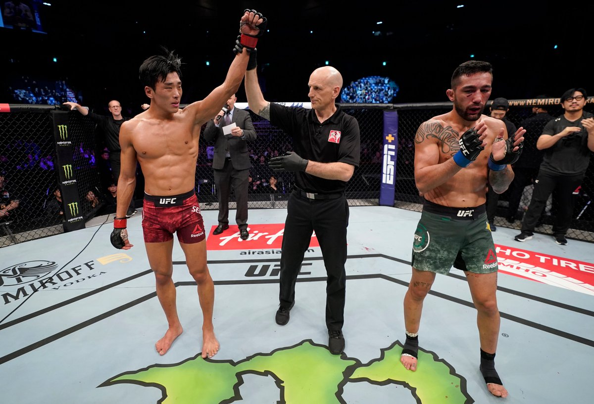 """""""I just want to keep winning my fights, I want to have a long career in @UFC and one day, of course, I want to be the champion."""" - SeungWoo Choi after his #UFCBusan victory.  More results: https://t.co/M9YS22B8ml https://t.co/O09SMOGh95"""