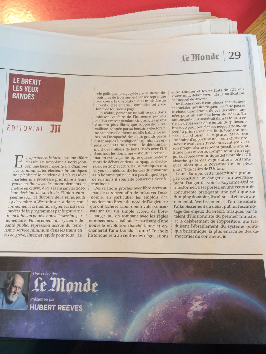 """How Brexit looks to @lemondefr - no party has explained what is at stake in dismantling thousands of links with EU. """"The British, blindfolded, have given the keys to the kingdom to a man who has not told them what kind of relations he wishes to preserve with the continent."""""""