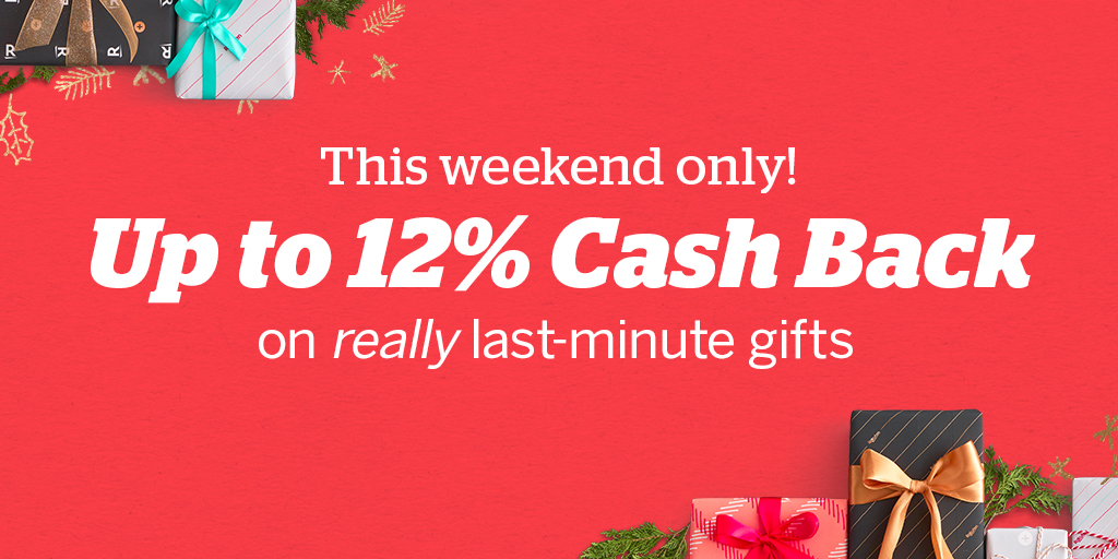 😱 Forget someone? This weekend only, get up to 12% Cash Back to finish your shopping. rakuten.com/last-minute-gi…