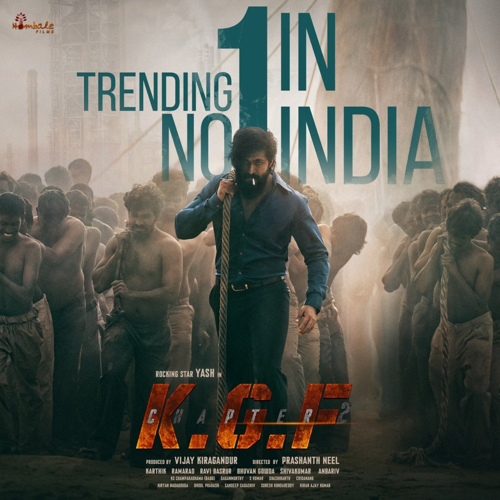 #KGFChapter2FirstLook Trending No.1 In India 💥💥💥 @hombalefilms @TheNameIsYash @prashanth_neel @duttsanjay @VKiragandur @SrinidhiShetty7 @bhuvangowda84 @BasrurRavi @Karthik1423 @AAFilmsIndia @excelmovies @FarOutAkhtar @ritesh_sid @VaaraahiCC https://t.co/iCKfsHs3QR