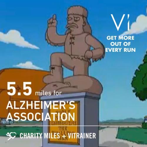 Long run in Haile. 5.5 @CharityMiles for @alzassociation. Thx @Vi_Trainer for sponsoring me!
