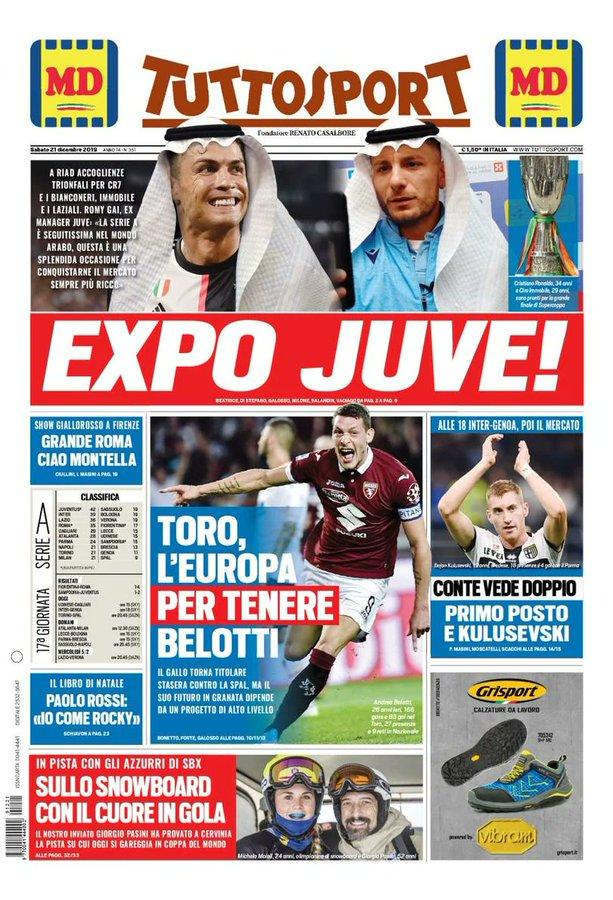 Front Pages La Gazzetta Dello Sport Corriere Dello Sport And Tutto Sport Saturday 21 December 2019 Italian Soccer Serie A News Serie A Tickets Results Standings