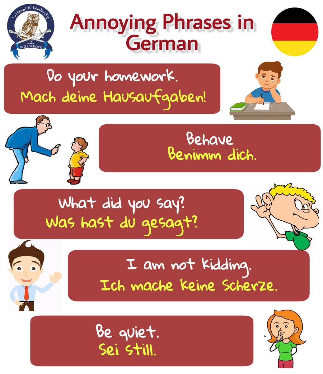 Learn Annoying Phrases in German Language #german #germanlanguage #phrases #annoyingphrases #language #germany #europe #germanoftheday #germanword #wortschatz #deutschlernen #deutschesprache #germanwords #germancourse #germanclass #deutschkurs #germanschool #Foreign #L2Lpic.twitter.com/cIyVRQRqPt