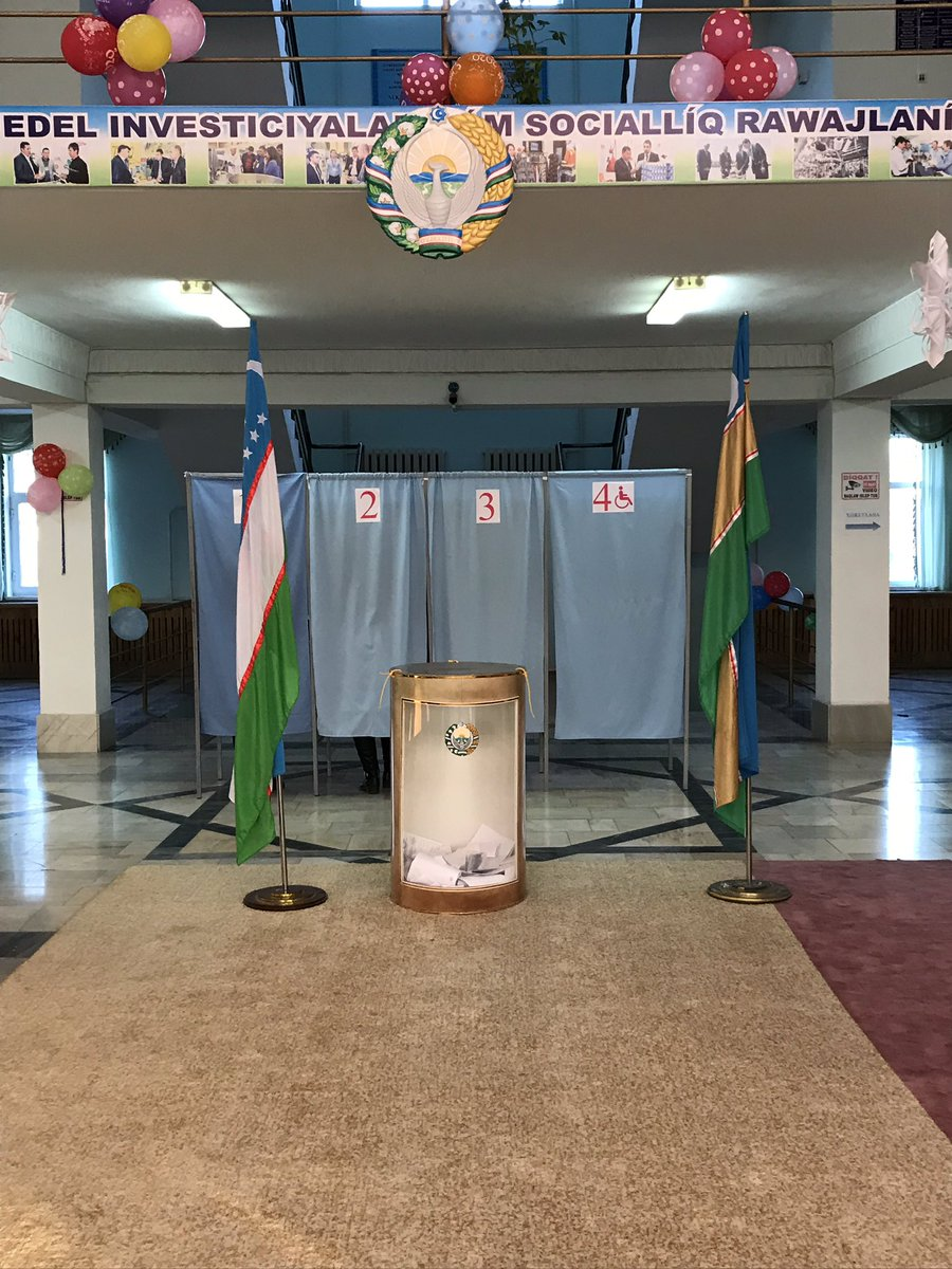 It's election day in #Uzbekistan and I'm up in #Nukus where it's very cold, but fantastic to see the election up close, and miles away from Tashkent. We've seen hundreds of people out, casting their votes. I always find elections exciting and inspiring.  pic.twitter.com/QPI2Mpcrng