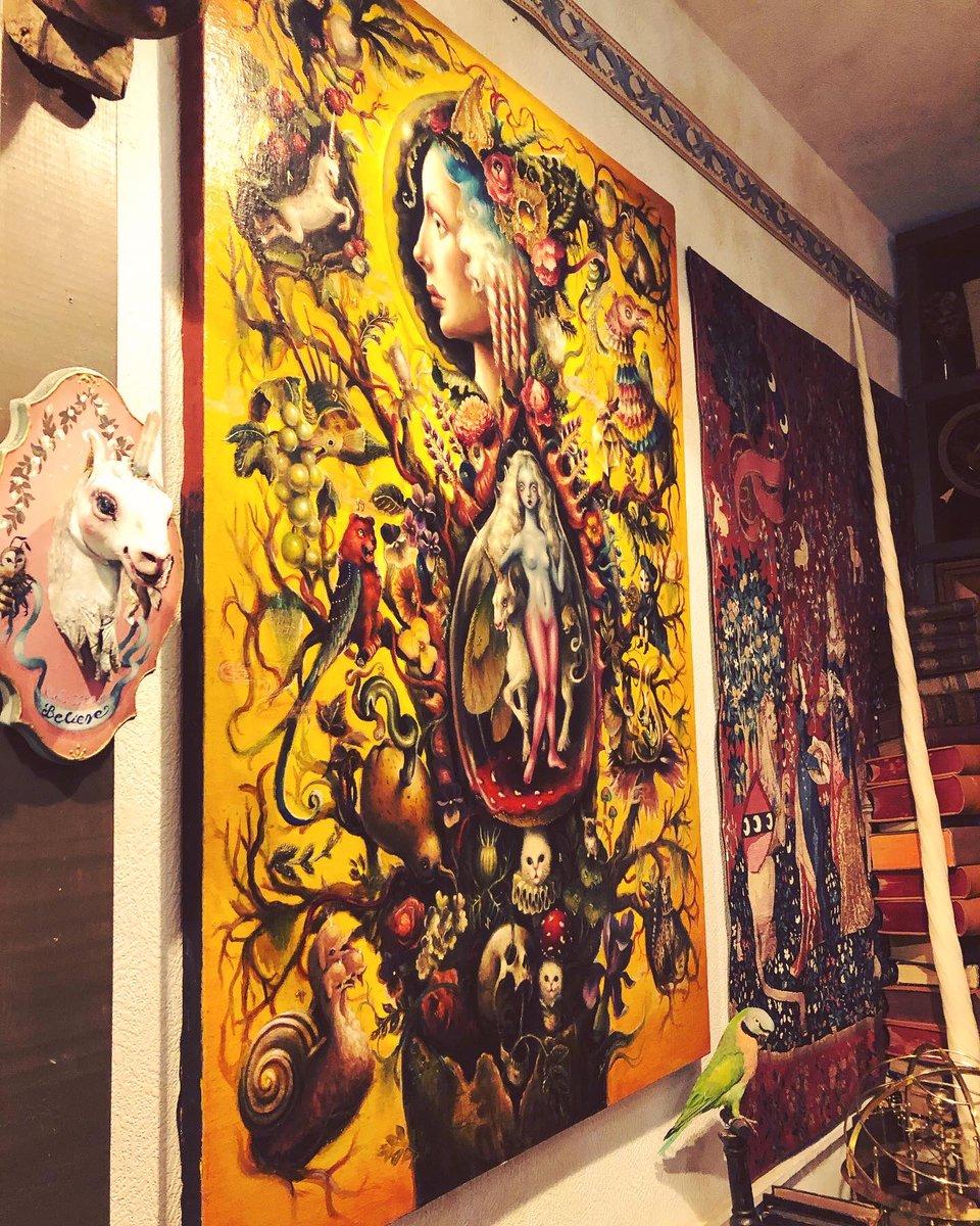レトロな緑 夢島スイさん個展 ユニコルニスの園 一角獣と貴婦人をテーマに タペストリーと作品とで彩られた展覧会 作品に秘めた想いなど熱心に解説してくださり パワーを頂くなど 見応えがありました