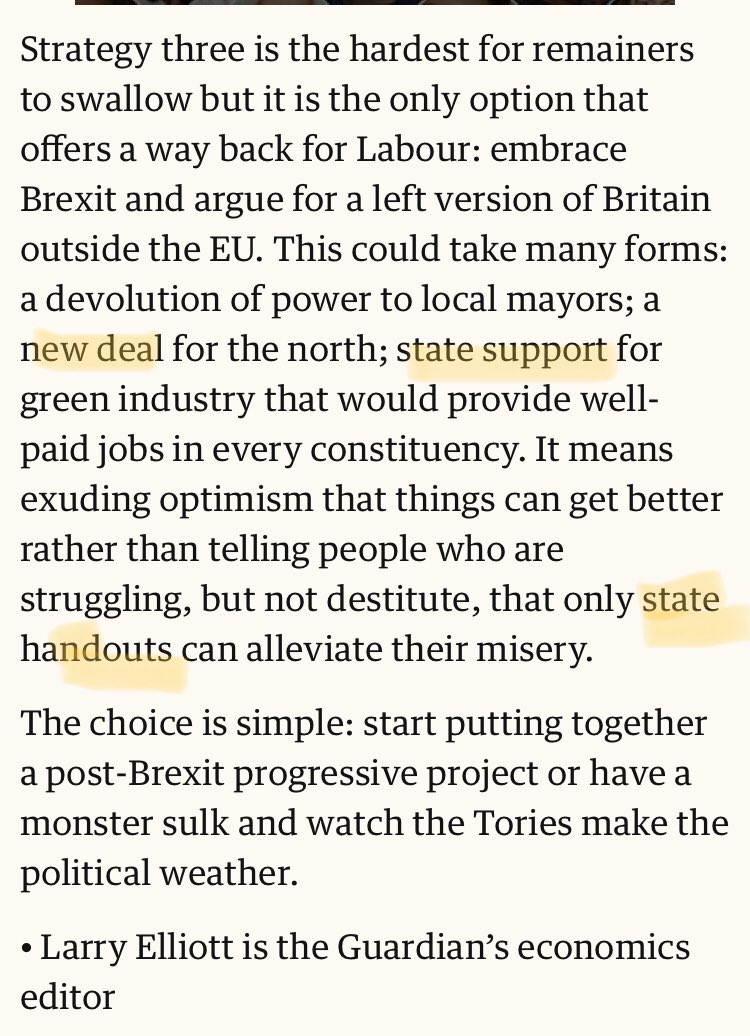 State of Lexiter thinking. A leftist Brexit involves doing three vaguely-defined things, all of which could have been done inside the EU, and two of which would seem to require the government spending that's decried in the very next sentence.