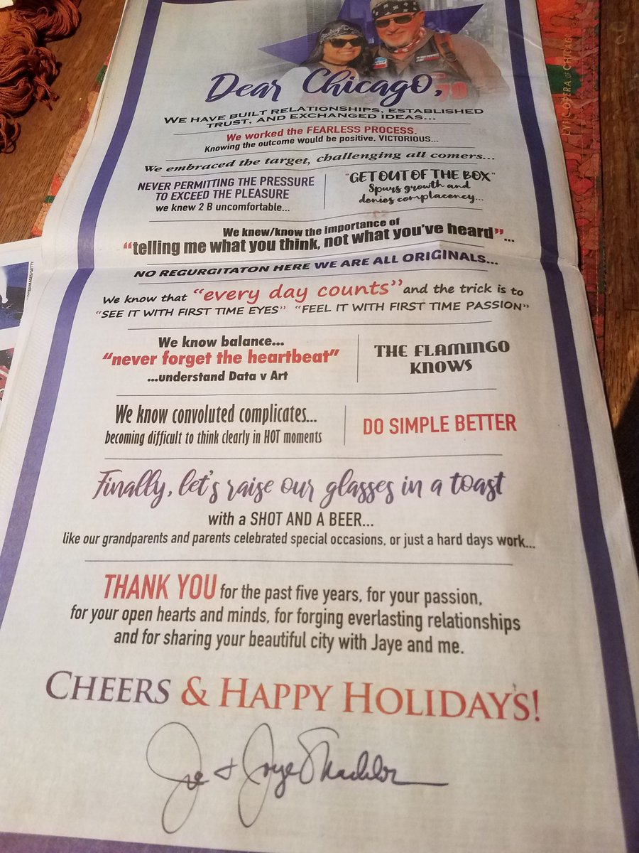 Joe and Jaye Maddon thank Chicago fans in full page ad in Chicago Tribune today. Cheers to @MaddHalos . #Cubs