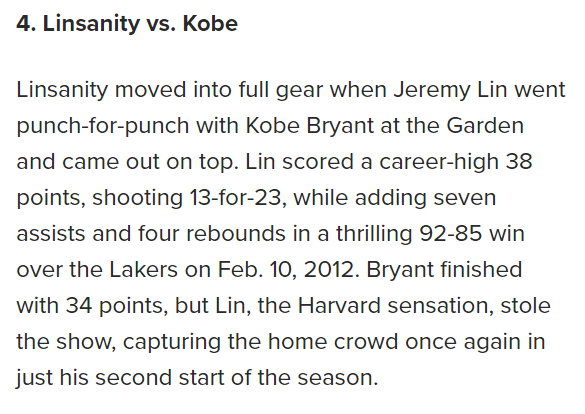 RT @zukovka New York Post listed it's top 10 games of this decade. Lin vs. Kobe came in at #4: