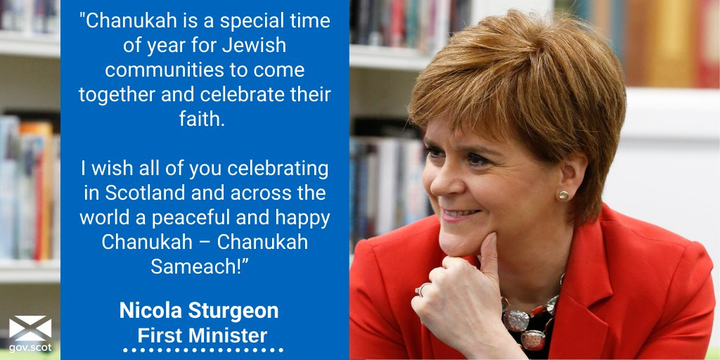 First Minister @NicolaSturgeon wishes everyone in the Jewish community a very Happy #Chanukah