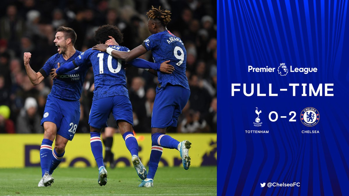 Full-time: Tottenham 0-2 CHELSEA!   GET IN THERE! 🙌  What a performance!   #TOTCHE https://t.co/F4fZ0ub9C9
