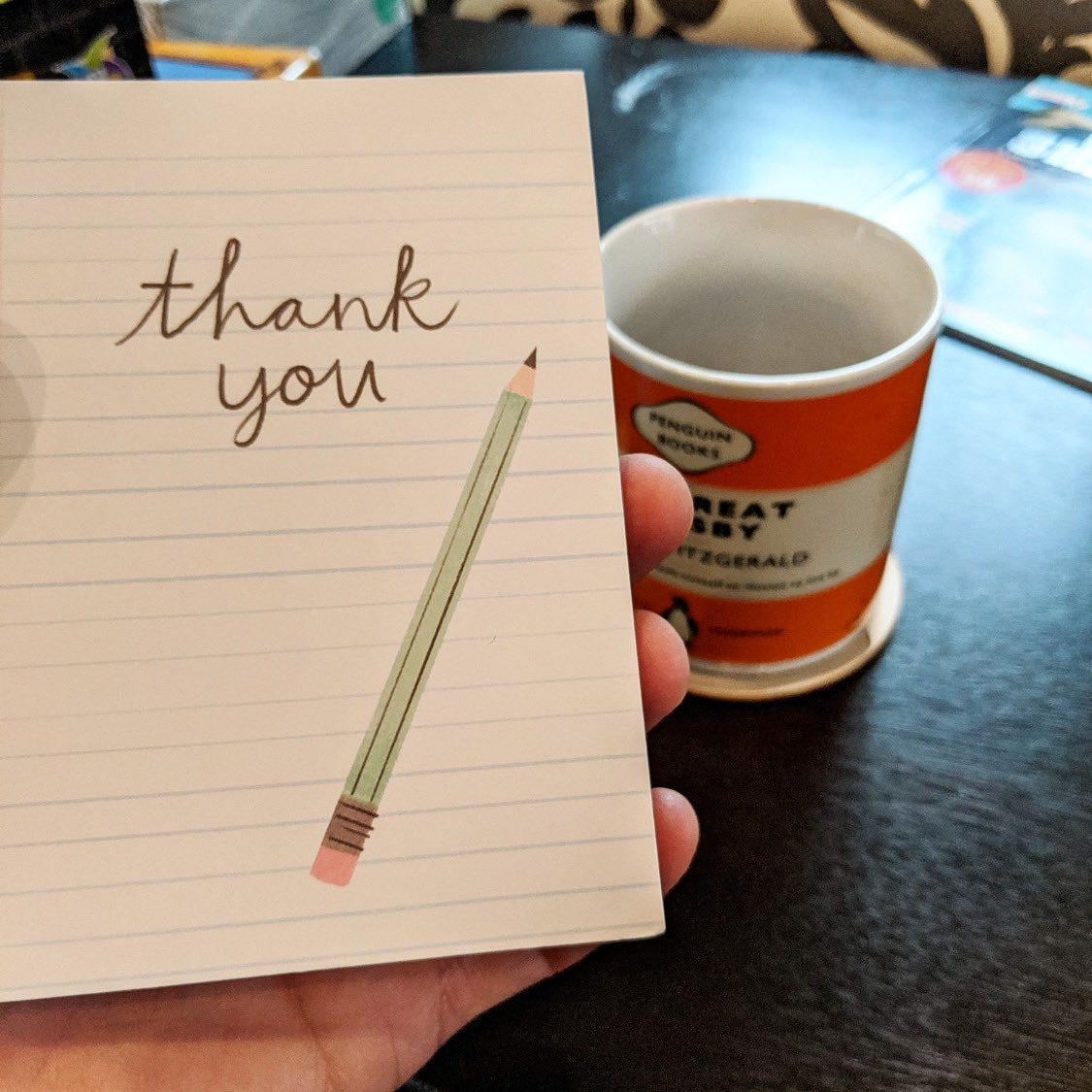 We wanted to say Thank You!   It's been a fun 1st year of Biz. We appreciate all who have supported and enjoyed our ☕️   This is a picture a customer sent of the cards we sent him. We try to send a note to everyone who buys ✊ https://t.co/VhH5dDcCHN