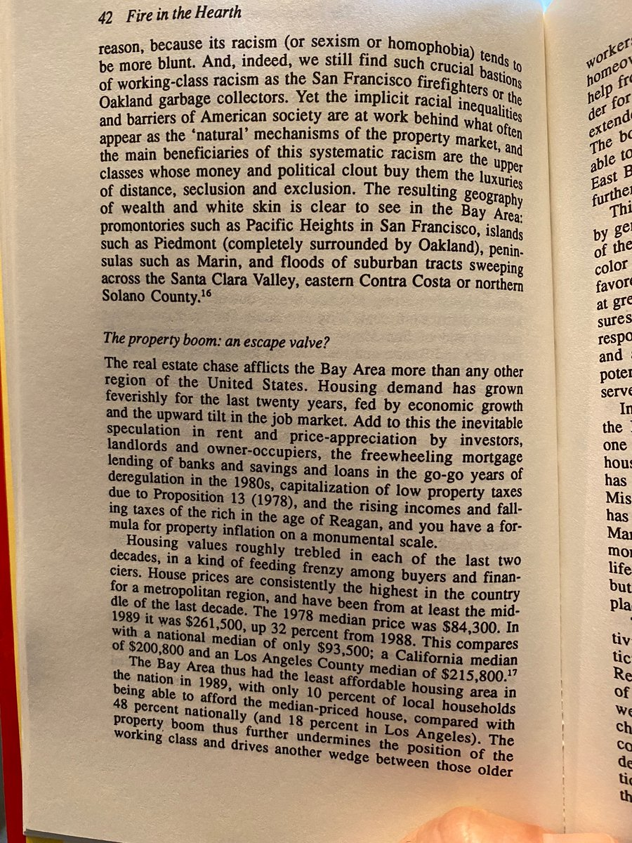 """""""The Bay Area thus had the least affordable housing area in the nation in 1989, with only 10% of local households being able to afford the median-priced house."""" 19-MFing-89! Check out the gentrification discussion, too. ~Fire in the Hearth~ (1990)"""