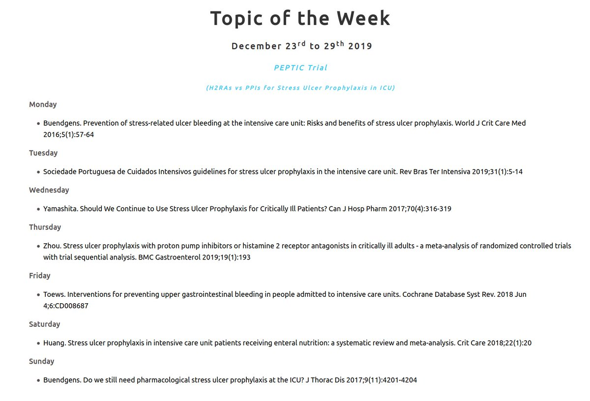 """Critical Care Reviews on Twitter: """"7 free papers on this week's Topic of  the Week - the #PEPTICtrial Less than 4 weeks to the #PEPTICtrial results,  to be presented by @DogICUma, with"""