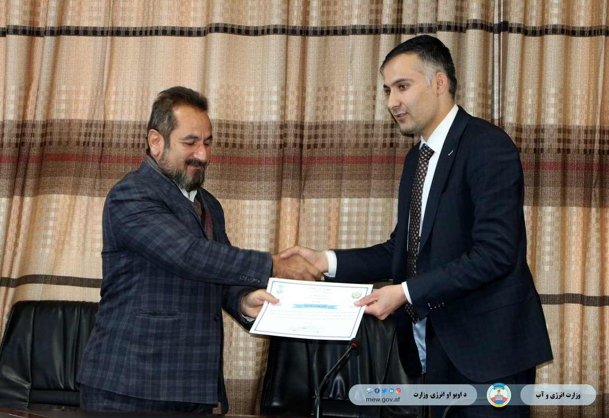 Honorable Engineer Khan Mohammad Takal, Water Deputy of Ministry of Energy and Water, honored ten engineers from the Department of Water Resources, Project Coordination, Project Management Institue and Technical Board of MEW. Click the link for more info https://www.facebook.com/MEW.AF/posts/2611804575603573…