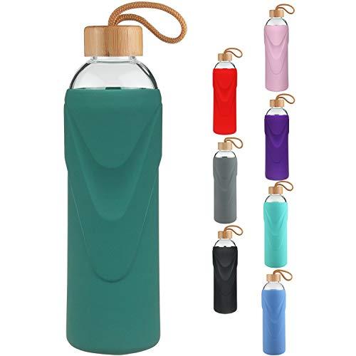 Cleesmil Trinkflasche Glas Wasserflasche mit Neoprenh/ülle Glasflasche 1500 ml //1.5 L
