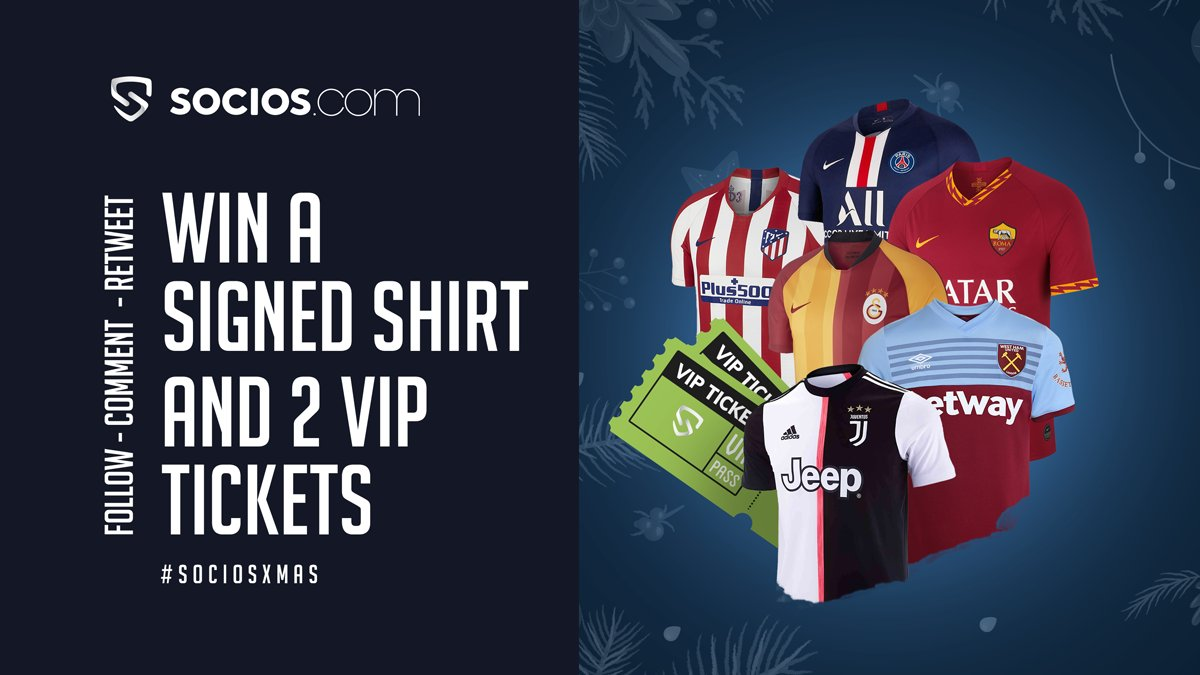 🎅🏻 This Christmas, we're determined to make it a very special one.  We're rewarding 6 of you, 1 from EACH of our partners with a signed shirt & 2 VIP tickets to a match of your choice.   To participate :  ❄️Follow ❄️RT ❄️Tell us your favourite Socios club using #SociosXmas https://t.co/yncMZZUEnw